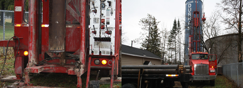 Close-up of truck and drilling